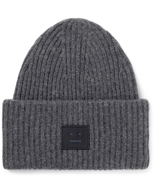 Acne | Gray Appliquéd Ribbed Wool-blend Beanie for Men | Lyst