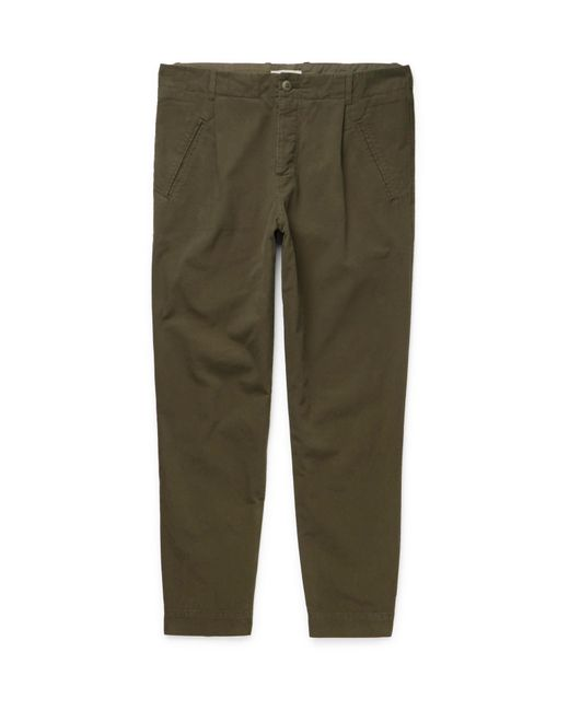 Folk   Green Assembly Tapered Garment-dyed Cotton-canvas Trousers for Men   Lyst