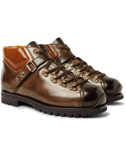 Santoni | Brown Shearling-lined Burnished-leather Boots for Men | Lyst
