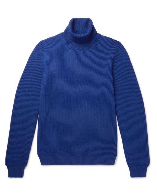 Altea | Blue Ribbed Virgin Wool Rollneck Sweater for Men | Lyst