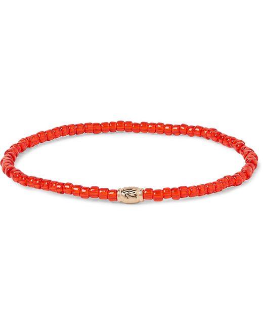 Luis Morais | Red Glass Bead Gold Bracelet for Men | Lyst