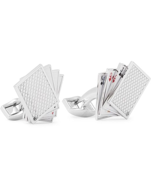 Tateossian | Metallic Playing Cards Enamelled Rhodium-plated Cufflinks for Men | Lyst