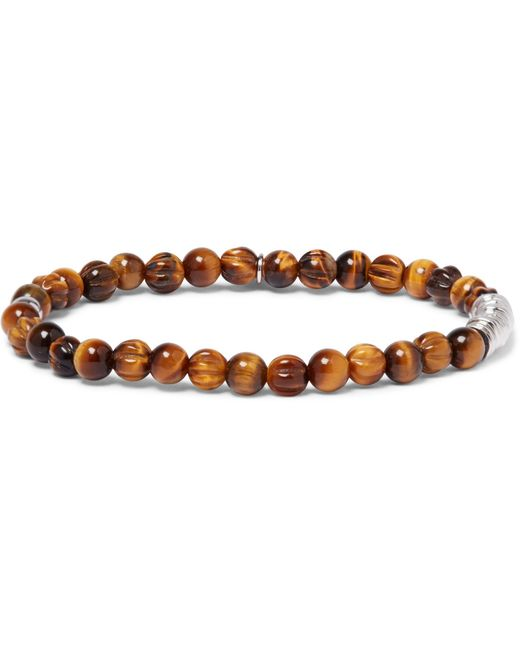 Tateossian | Brown Tiger's Eye Sterling Silver Bracelet for Men | Lyst