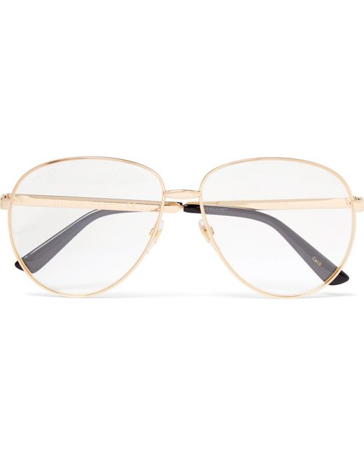 4da958fa119 Gucci - Metallic Aviator-style Gold-tone Optical Glasses for Men - Lyst ...