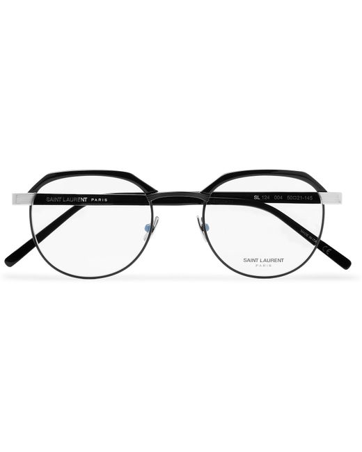 c7db10e98e Saint Laurent - Black Round-frame Acetate And Silver-tone Optical Glasses  for Men ...