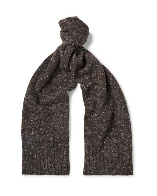 Anderson & Sheppard - Brown Donegal Virgin Wool And Cashmere-blend Scarf for Men - Lyst
