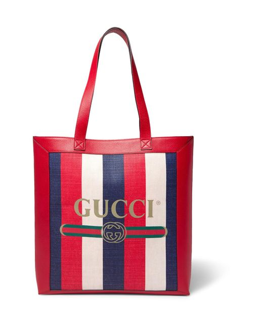 4f1940c5f Gucci - Red Leather-trimmed Logo-print Striped Canvas Tote Bag for Men ...