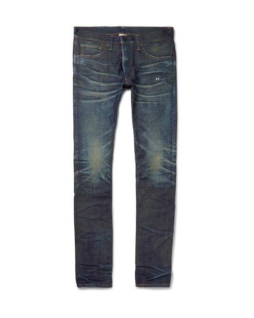 Fabric-Brand & Co.   Blue Slim-fit Distressed Selvedge Denim Jeans for Men   Lyst