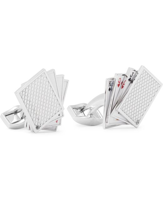 Tateossian - Metallic Playing Cards Rhodium-plated And Enamel Cufflinks for Men - Lyst