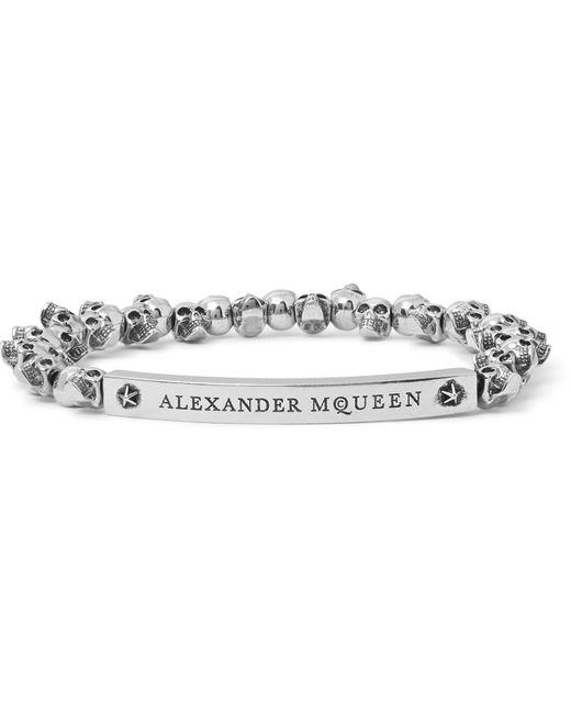 Alexander McQueen | Metallic Skull Burnished Silver-tone Beaded Bracelet for Men | Lyst