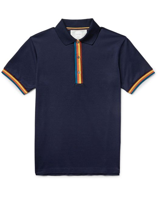 Paul Smith | Blue Slim-fit Contrast-tipped Cotton-piqué Polo Shirt for Men | Lyst
