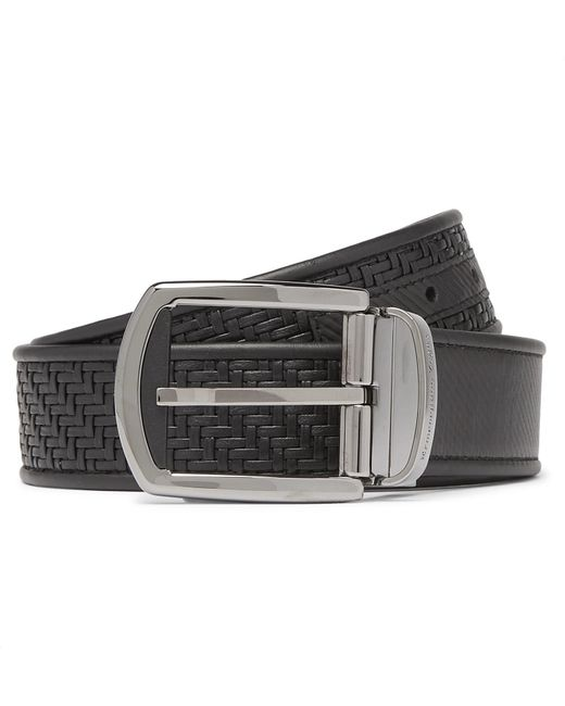 Ermenegildo Zegna - 3.5cm Black Reversible Pelle Tessuta Leather Belt for Men - Lyst