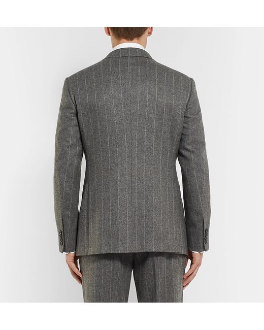 b4d2ddf373e4 ... Ralph Lauren Purple Label - Gray Grey Gregory Double-breasted  Pinstriped Wool Suit Jacket for ...
