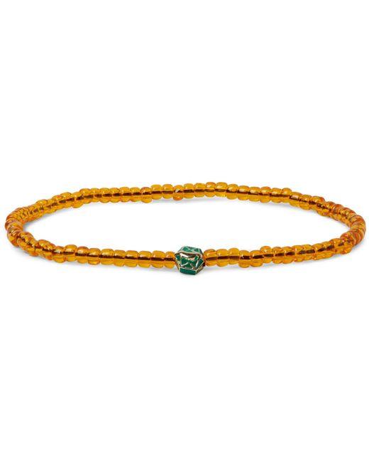 Luis Morais   Orange Glass Bead Enamelled Gold Bracelet for Men   Lyst