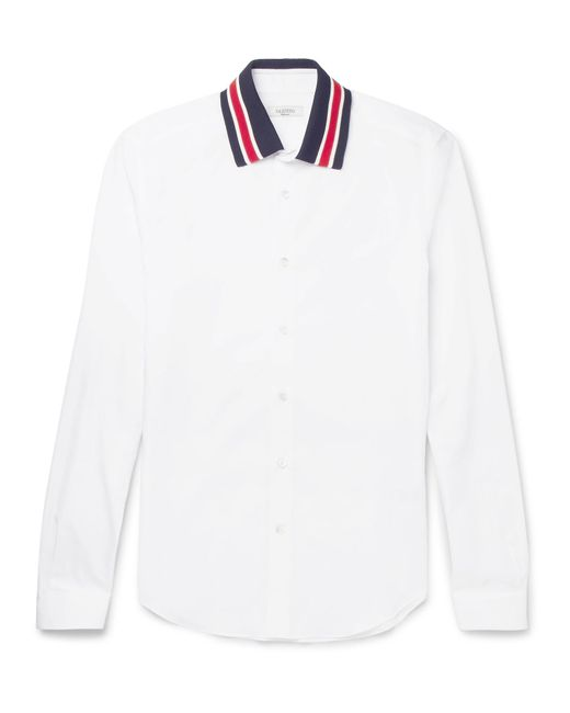 Valentino | White Slim-fit Stripe-trimmed Cotton-poplin Shirt for Men | Lyst