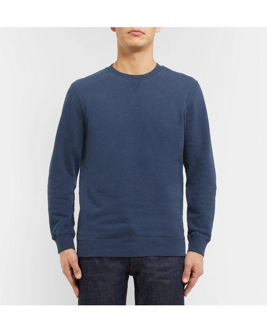 a6f18f67b Sunspel Brushed Loopback Cotton-jersey Sweatshirt in Blue for Men - Lyst
