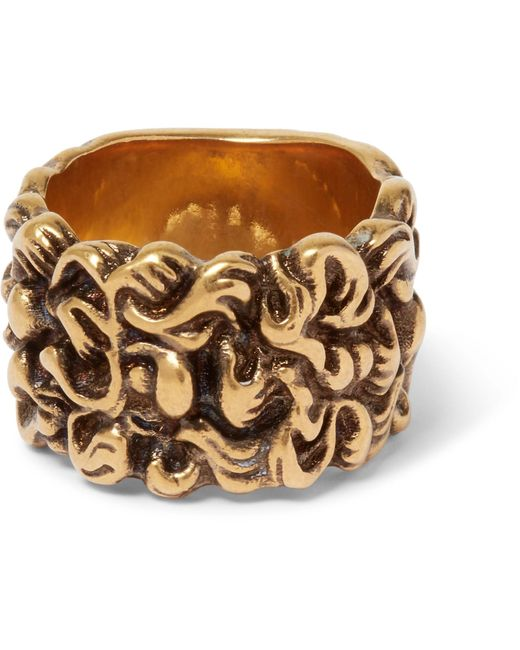Gucci - Metallic Burnished Gold-tone Ring for Men - Lyst