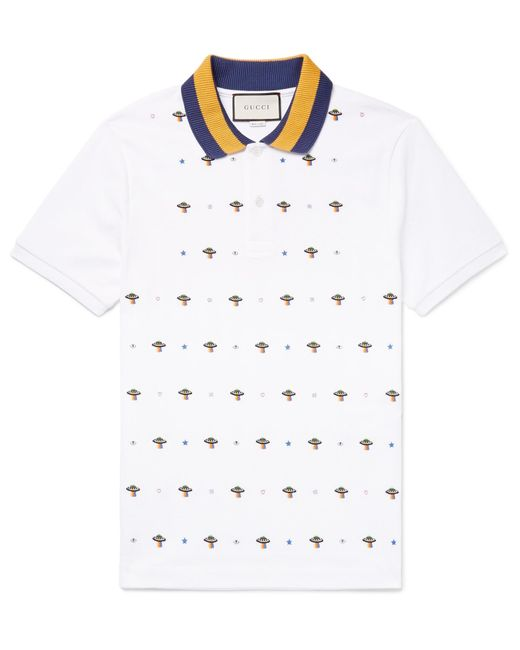 aad2a0bca3e Gucci - White Slim-fit Ufo-embroidered Stretch-cotton Piqué Polo Shirt for  ...