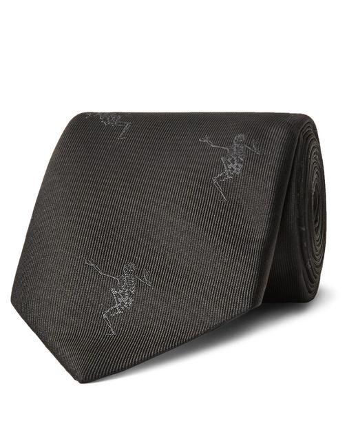 Alexander McQueen - Gray 7cm Embroidered Silk-faille Tie for Men - Lyst