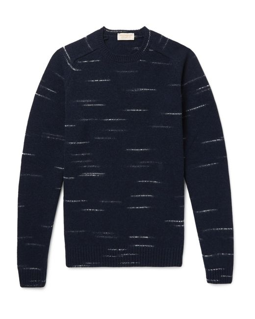 John Smedley - Blue Mélange Wool And Cashmere-blend Sweater for Men - Lyst