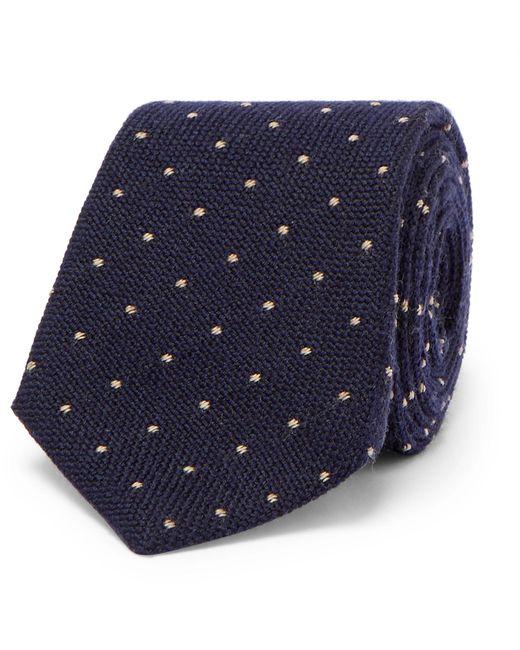 Brunello Cucinelli | Blue 7cm Polka-dot Wool And Silk-blend Tie for Men | Lyst