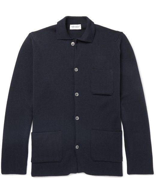John Smedley - Blue Copper Merino Wool Jacket for Men - Lyst