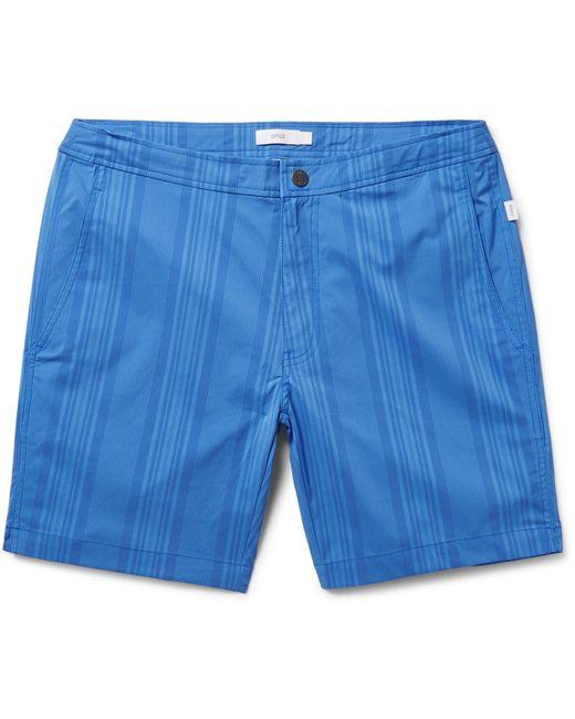 Onia   Blue Calder Mid-length Striped Swim Shorts for Men   Lyst