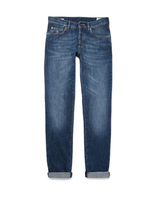 Brunello Cucinelli | Blue Slim-fit Washed-denim Jeans for Men | Lyst
