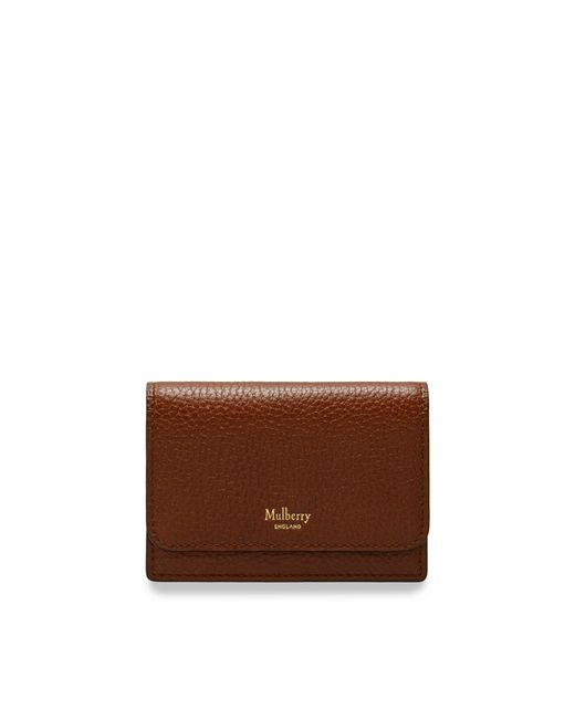 Mulberry - Brown Continental Card Holder In Oak Natural Grain Leather - Lyst