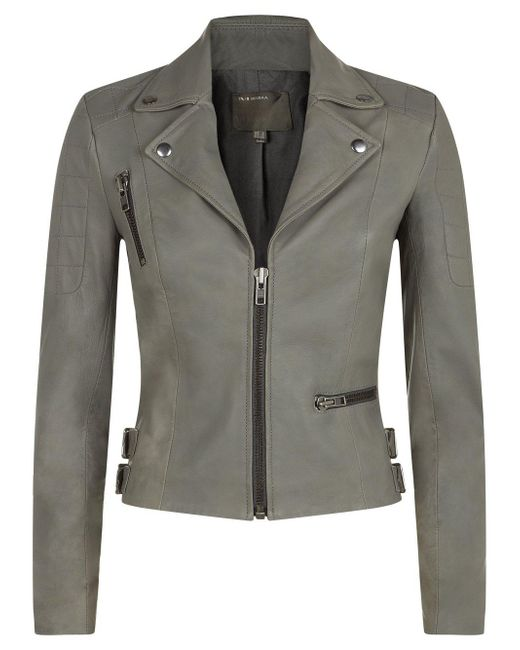 Muubaa | Gray Rengo Grey Leather Biker Jacket | Lyst