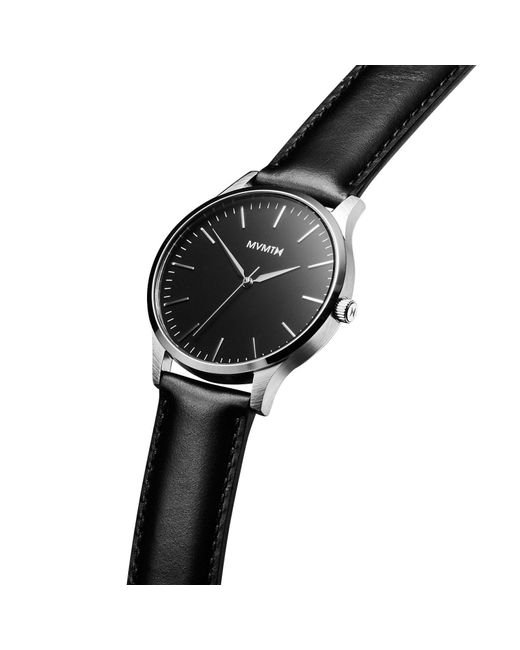 9fa7676f57 ... MVMT - The 40 - Black silver Leather for Men - Lyst ...