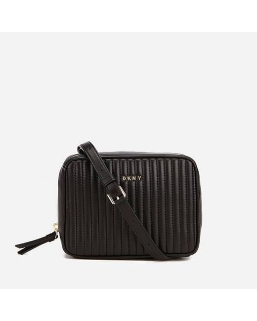 DKNY | Black Gansevoort Pinstripe Quilted Square Crossbody Bag | Lyst