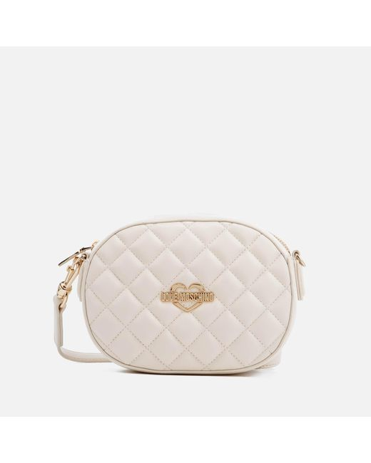 Love Moschino   Natural Quilted Round Small Cross Body Bag   Lyst