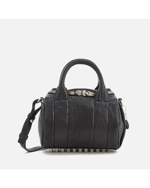 Alexander Wang - Black Mini Rockie Pebbled Leather Bag With Rhodium Studs - Lyst