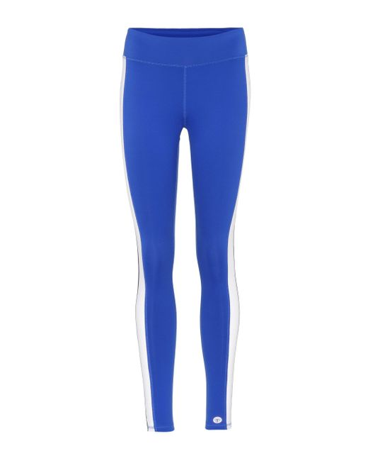 Tory Sport - Blue Color-block Striped leggings - Lyst
