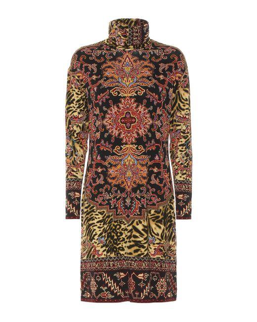Etro Multicolor Printed Jersey Turtleneck Dress