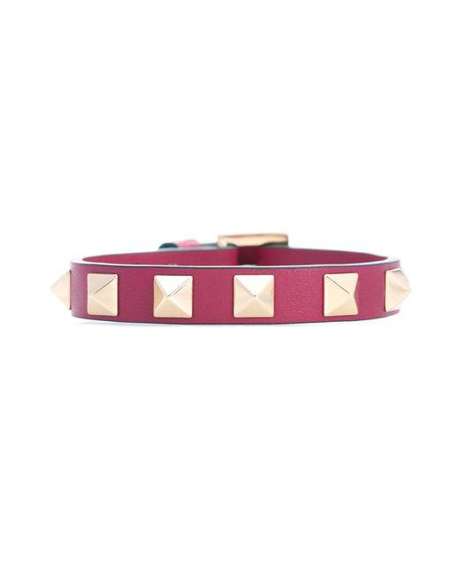 Valentino   Purple Garavani Rockstud Leather Bracelet   Lyst