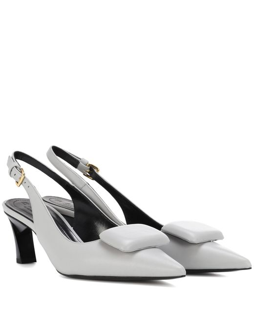 Marni - Gray Leather Slingback Sandals - Lyst