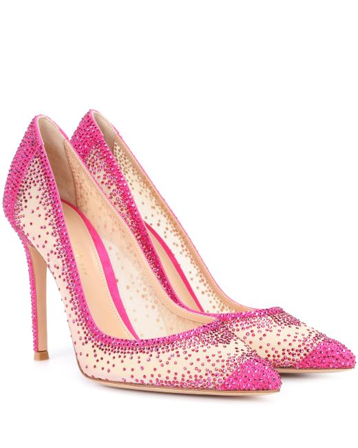 Gianvito Rossi - Pink Exclusive To Mytheresa. Com – Rania Crystal-embellished Pumps - Lyst