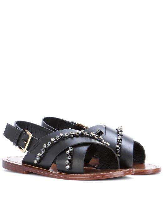 Marni | Black Embellished Leather Sandals | Lyst