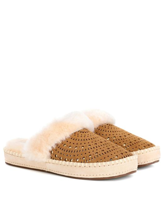 Ugg - Brown Aira Sunshine Suede Slippers - Lyst