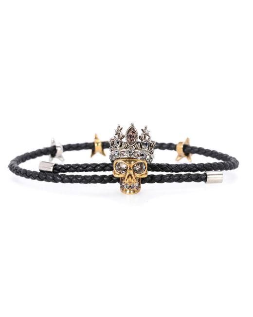 Alexander McQueen | Black Embellished Leather Bracelet | Lyst