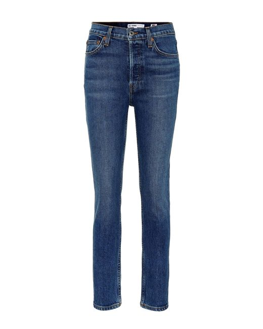 Re/done - Blue High-Rise Jeans Ankle Crop - Lyst