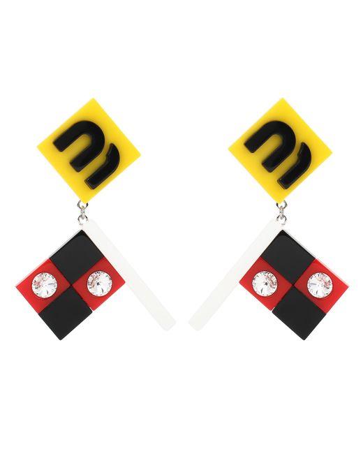 Miu Miu - Multicolor Embellished Clip-on Earrings - Lyst