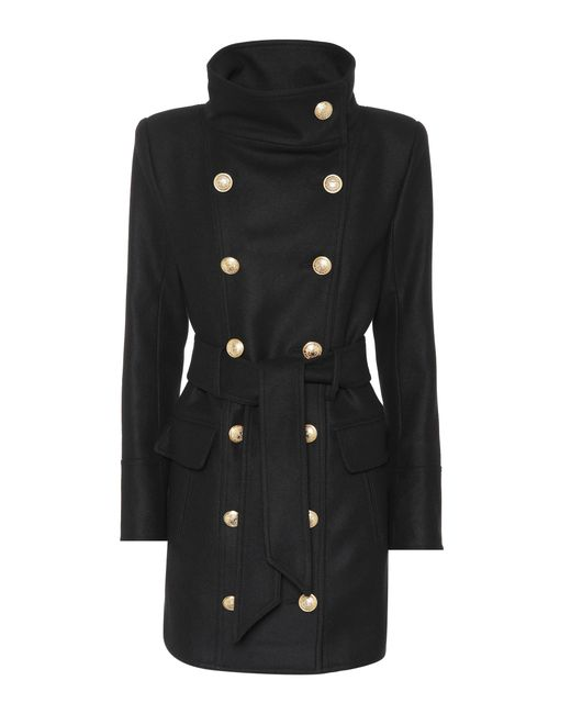 Balmain - Black Belted Buttoned Coat - Lyst