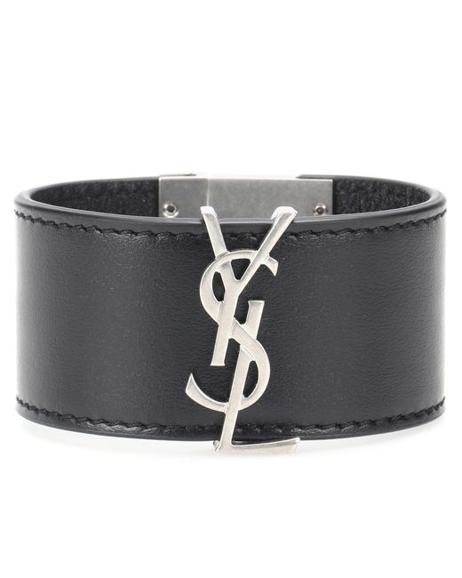 Saint Laurent - Black Opyum Monogram Leather Bracelet - Lyst