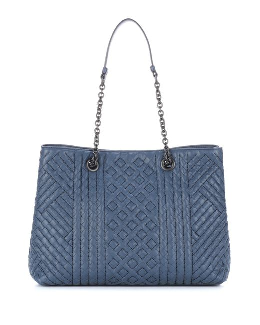 Bottega Veneta - Blue Intrecciato Leather Tote - Lyst