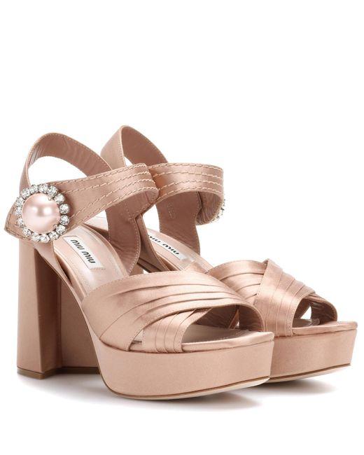 Miu Miu - Pink Satin Plateau Sandals - Lyst