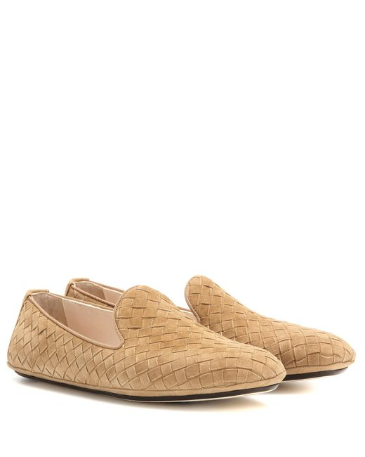 Bottega Veneta | Natural Intrecciato Suede Loafers | Lyst