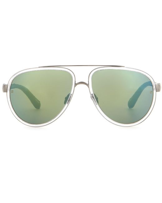 Linda Farrow | Green Snakeskin-trimmed Sunglasses | Lyst